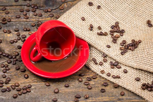 красный чашку кофе кофе кофе древесины расслабиться Сток-фото © viperfzk