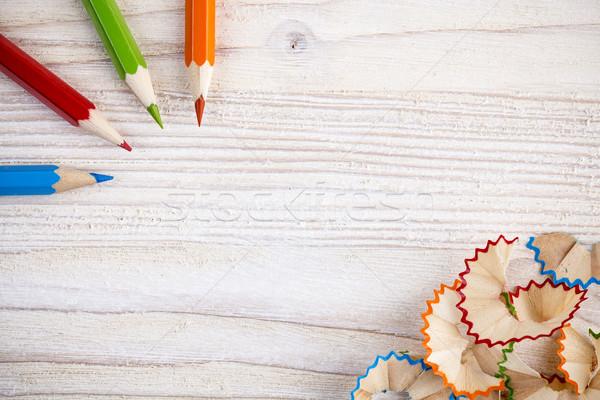 Színes ceruzák fából készült fény hely szöveg Stock fotó © viperfzk