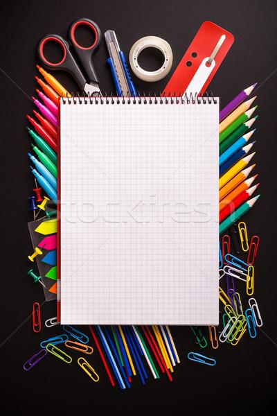 черный столе блокнот текста бумаги Сток-фото © viperfzk