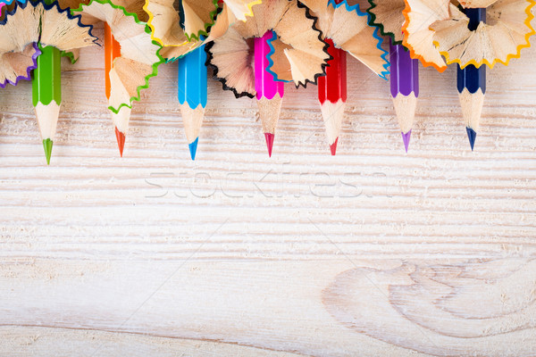 Being creative with pencils and pencil shavings Stock photo © viperfzk