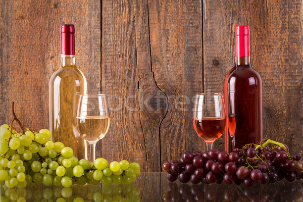 очки вино бутылок виноград темно Сток-фото © viperfzk