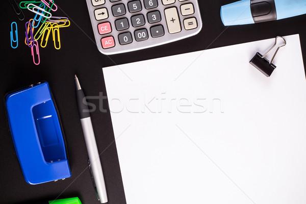 事務用品 黒 デスク 白 紙 ペン ストックフォト © viperfzk
