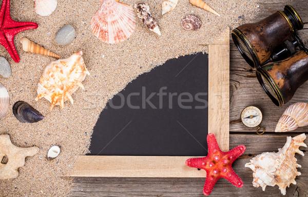 морем снарядов Starfish доске песчаный Сток-фото © viperfzk