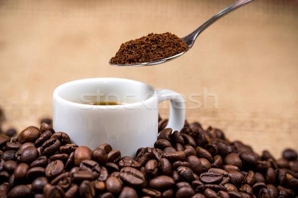 Fehér kávéscsésze kanál fölött textúra terv Stock fotó © viperfzk
