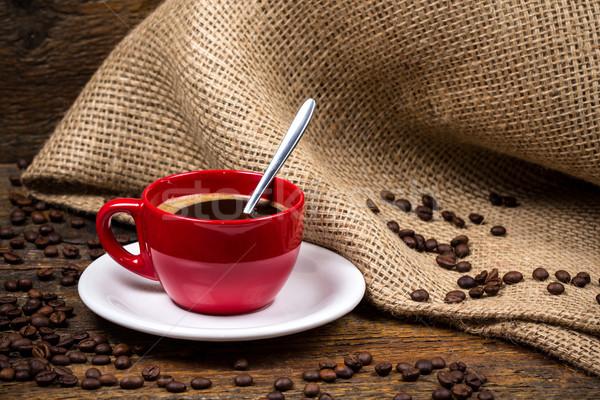 Taza de café cuchara textiles metálico textura café Foto stock © viperfzk
