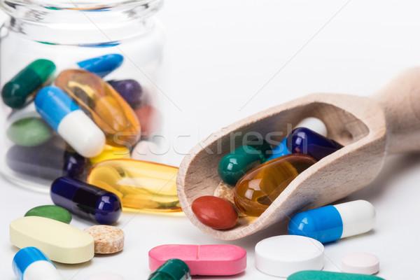 色 錠剤 ガラス コンテナ 木製 医療 ストックフォト © viperfzk