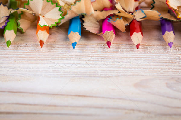 Being creative with pencils and pencil shavings on wood Stock photo © viperfzk