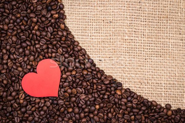 Kávé piros szív textil köteg papír Stock fotó © viperfzk