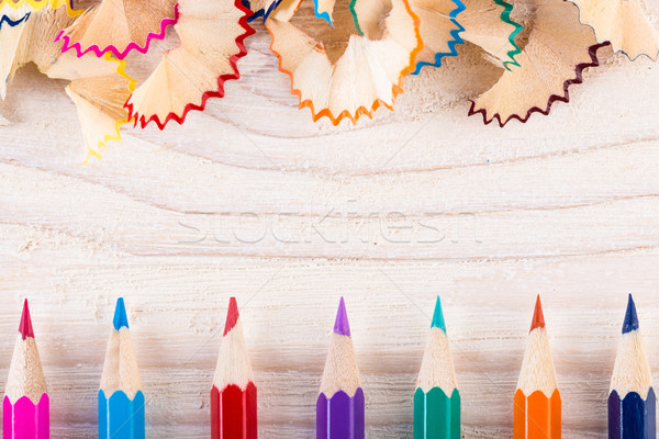 Playing with pencils and pencil shavings Stock photo © viperfzk