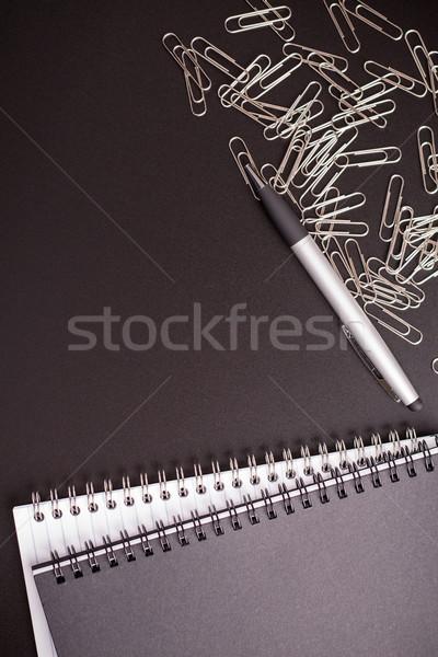 блокнот черный таблице бумаги пер Сток-фото © viperfzk