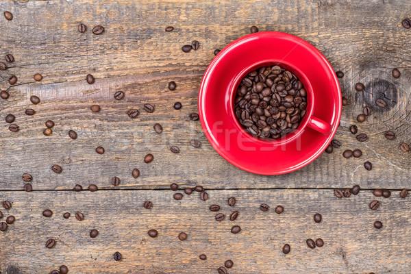 кофе красный Кубок древесины кофе Сток-фото © viperfzk