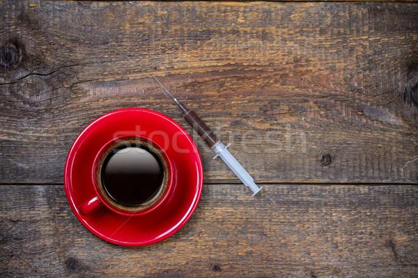 Minden nap lövés kávéscsésze injekciós tű kávé piros Stock fotó © viperfzk