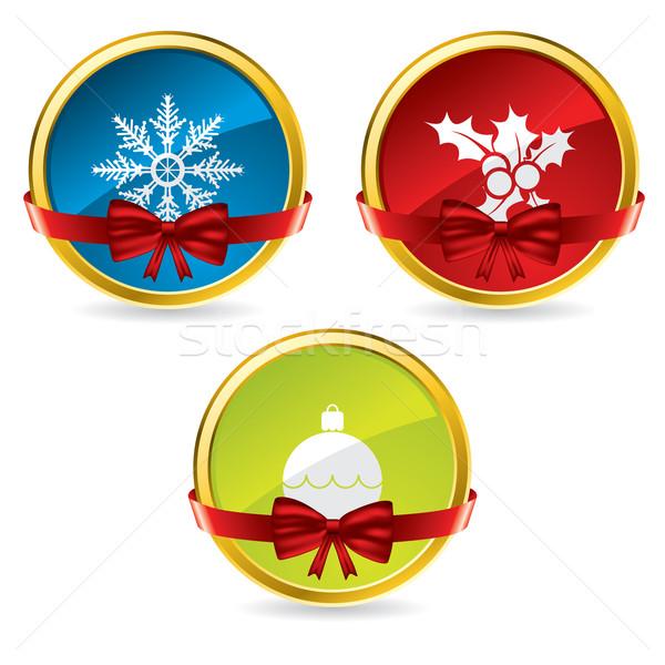Navidad botones arco cinta color nieve Foto stock © vipervxw