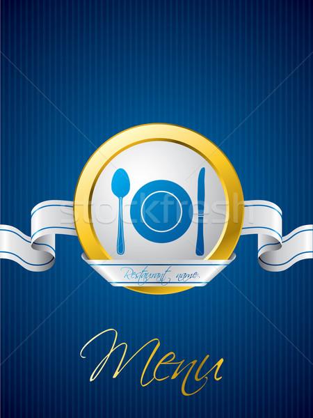 Bleu menu brochure design blanche ruban Photo stock © vipervxw