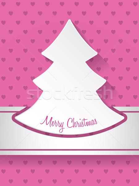 Noël accueil coeurs carte de vœux design carte Photo stock © vipervxw