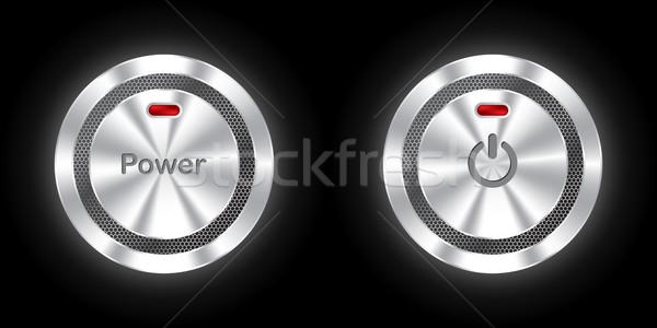 Brilhante poder botões hexágono metálico Foto stock © vipervxw