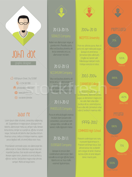 New modern resume curriculum vitae with coloor stripes Stock photo © vipervxw