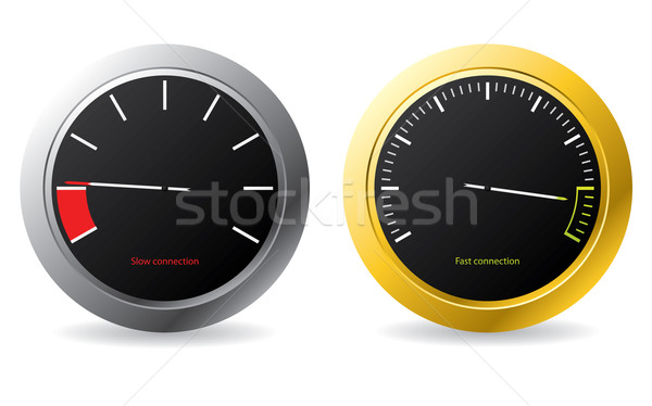 Silver and gold framed speedometers  Stock photo © vipervxw