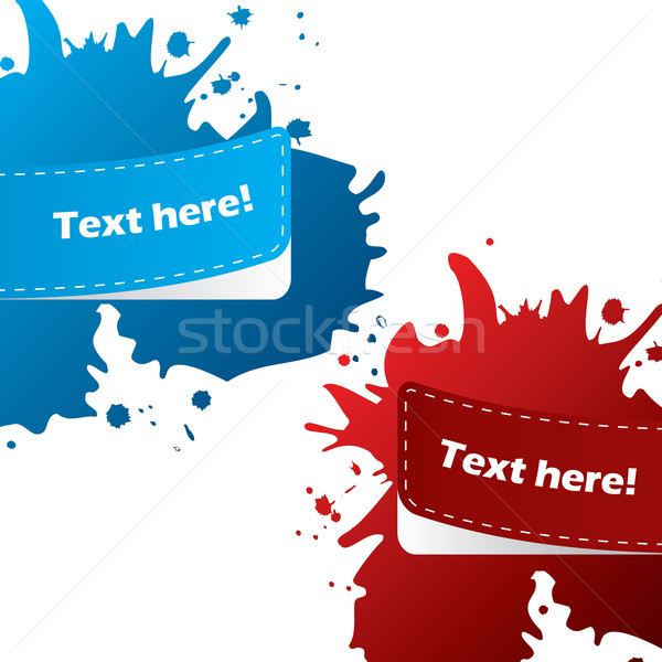 Painted color labels with paint splatter Stock photo © vipervxw