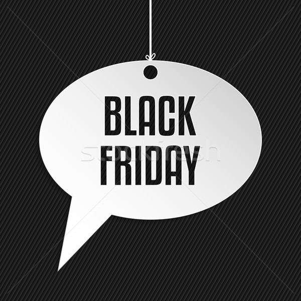 Black friday bulle suspendu corde rayé affaires Photo stock © vipervxw