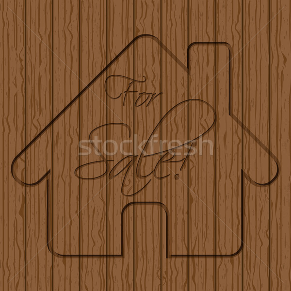 House sale sign carved in wood Stock photo © vipervxw
