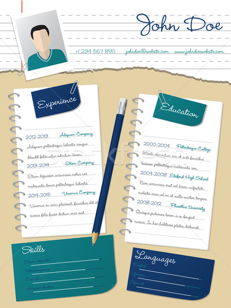 Cool new curriculum vitae resume with notepapers and pencil Stock photo © vipervxw