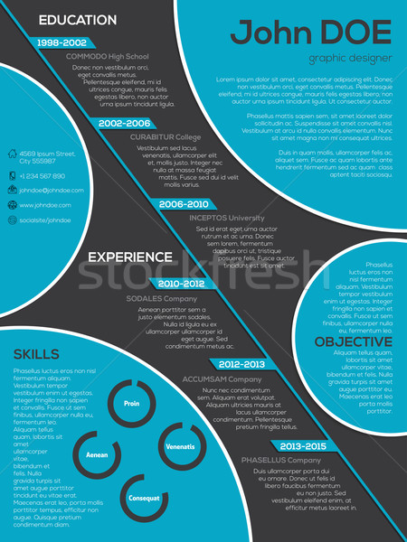 Modern resume curriculum vitae with cool circle elements Stock photo © vipervxw