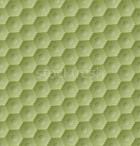 Végtelenített zöld hatszög minta 3D hatás Stock fotó © vipervxw