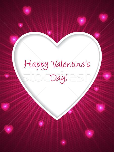 Rózsaszín Valentin nap nap üdvözlet szív üdvözlőlap Stock fotó © vipervxw