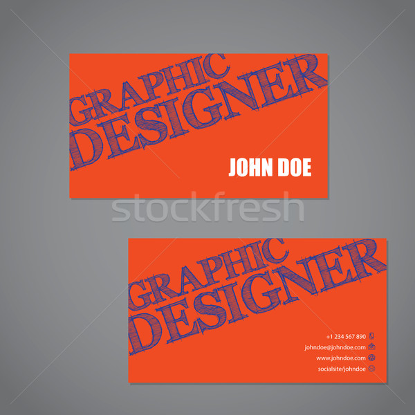 Scribbled text business card in orange blue and white color comb Stock photo © vipervxw
