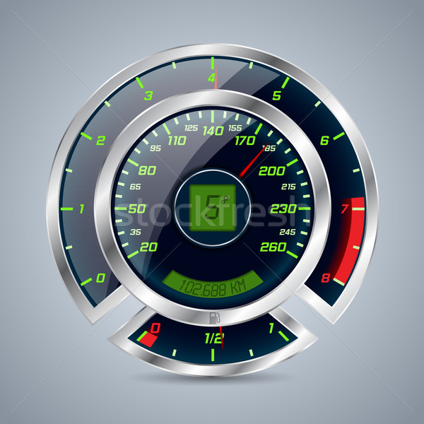Métallique indicateur de vitesse grand contre brillant voiture Photo stock © vipervxw