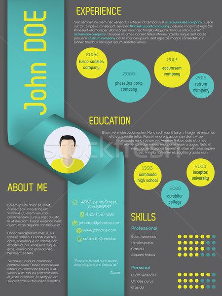 Modern curriculum vitae resume template with ribbon Stock photo © vipervxw