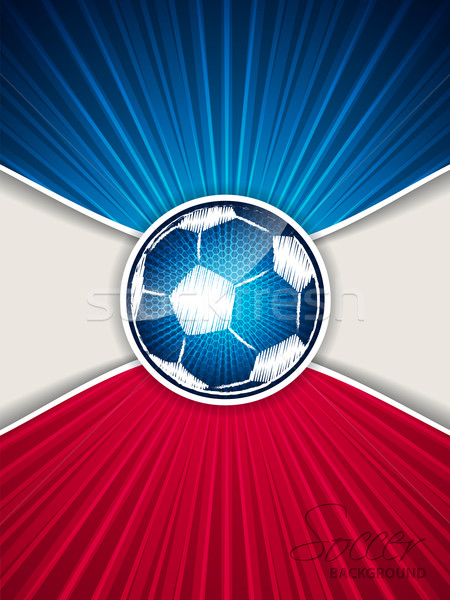 Abstract blue red soccer brochure with scribbled ball Stock photo © vipervxw