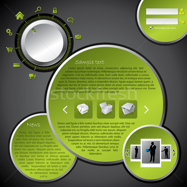 Website template design with rotateable menu selection Stock photo © vipervxw