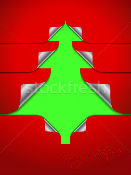 Red greeting with stickers shaping christmas tree Stock photo © vipervxw