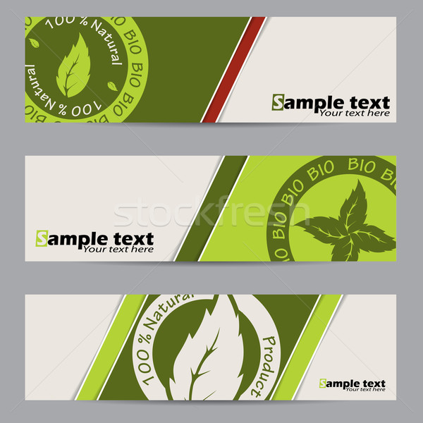 Stock photo: Bio label banner set
