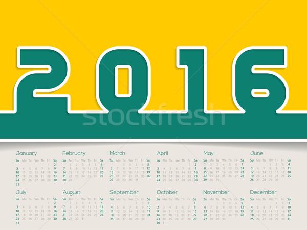 Simplistic 2016 calendar Stock photo © vipervxw