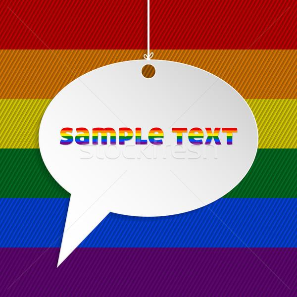 Bocadillo texto gay bandera blanco papel Foto stock © vipervxw
