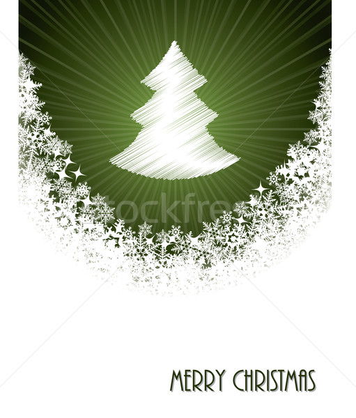 White christmas greeting with bursting christmastree from green  Stock photo © vipervxw