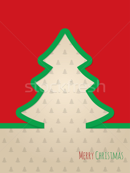 Christmas greeting card with green ribbon tree Stock photo © vipervxw