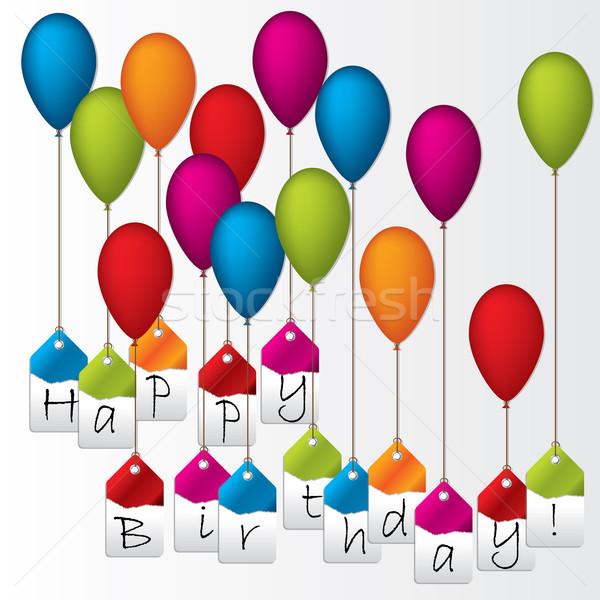 Mutlu yıllar etiketler asılı renk balonlar etiket Stok fotoğraf © vipervxw
