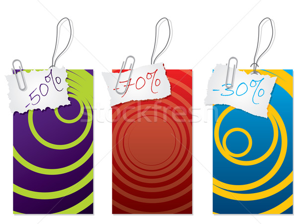 Label set with paper clip Stock photo © vipervxw