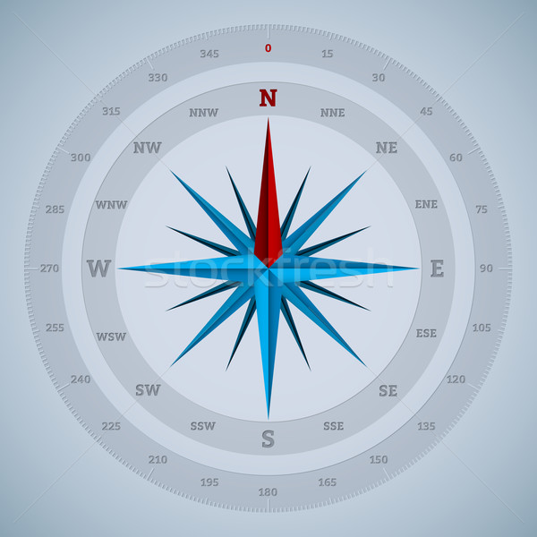 16 point compass design with degrees Stock photo © vipervxw
