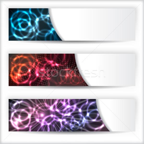 Abstrakten Banner Set Plasma Wirkung drei Stock foto © vipervxw