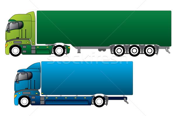 Europese vrachtwagens verschillend vracht business groene Stockfoto © vipervxw