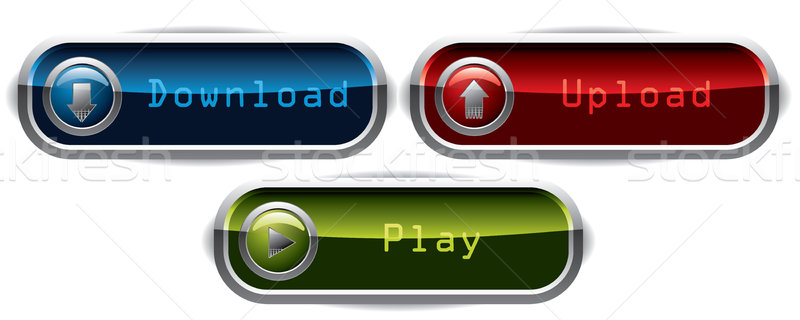 Upload, Download & Play wide buttons  Stock photo © vipervxw