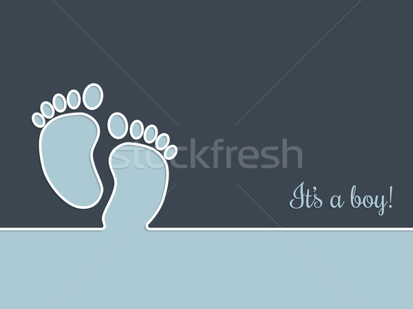 Simplistic baby shower greeting card in blue Stock photo © vipervxw