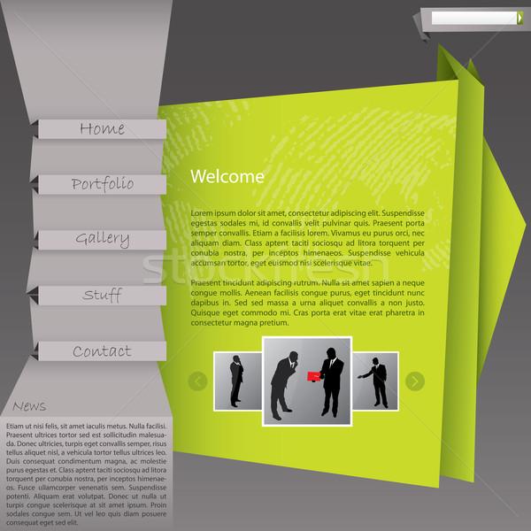 Origami stil web sitesi şablon dizayn yeşil Stok fotoğraf © vipervxw