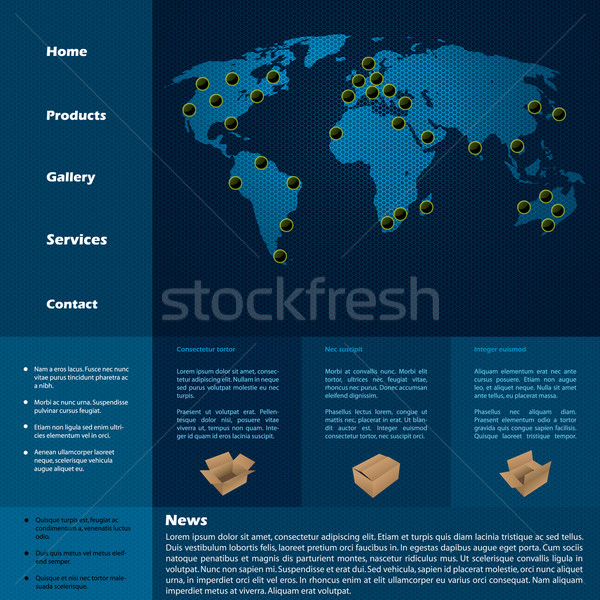 Website template with product descriptions and item locations Stock photo © vipervxw