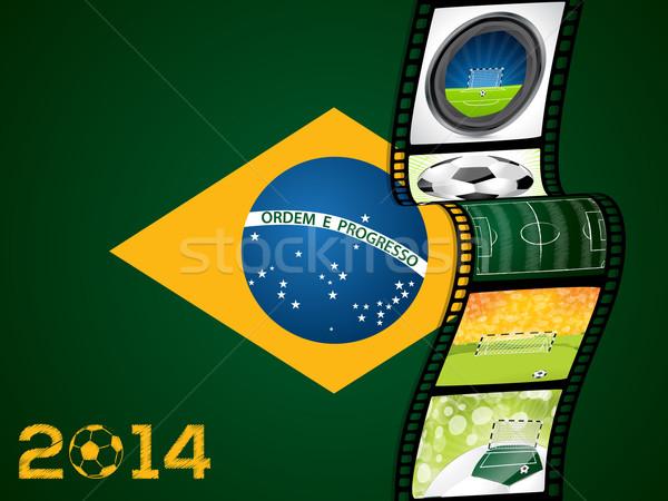Filmszalag Brazília zászló sport háttér film Stock fotó © vipervxw